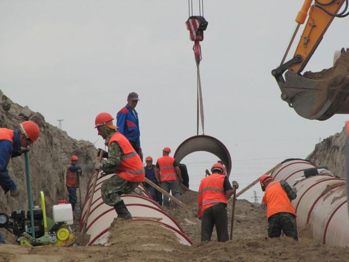 Cтроительство участкаглавного канализационного коллектора