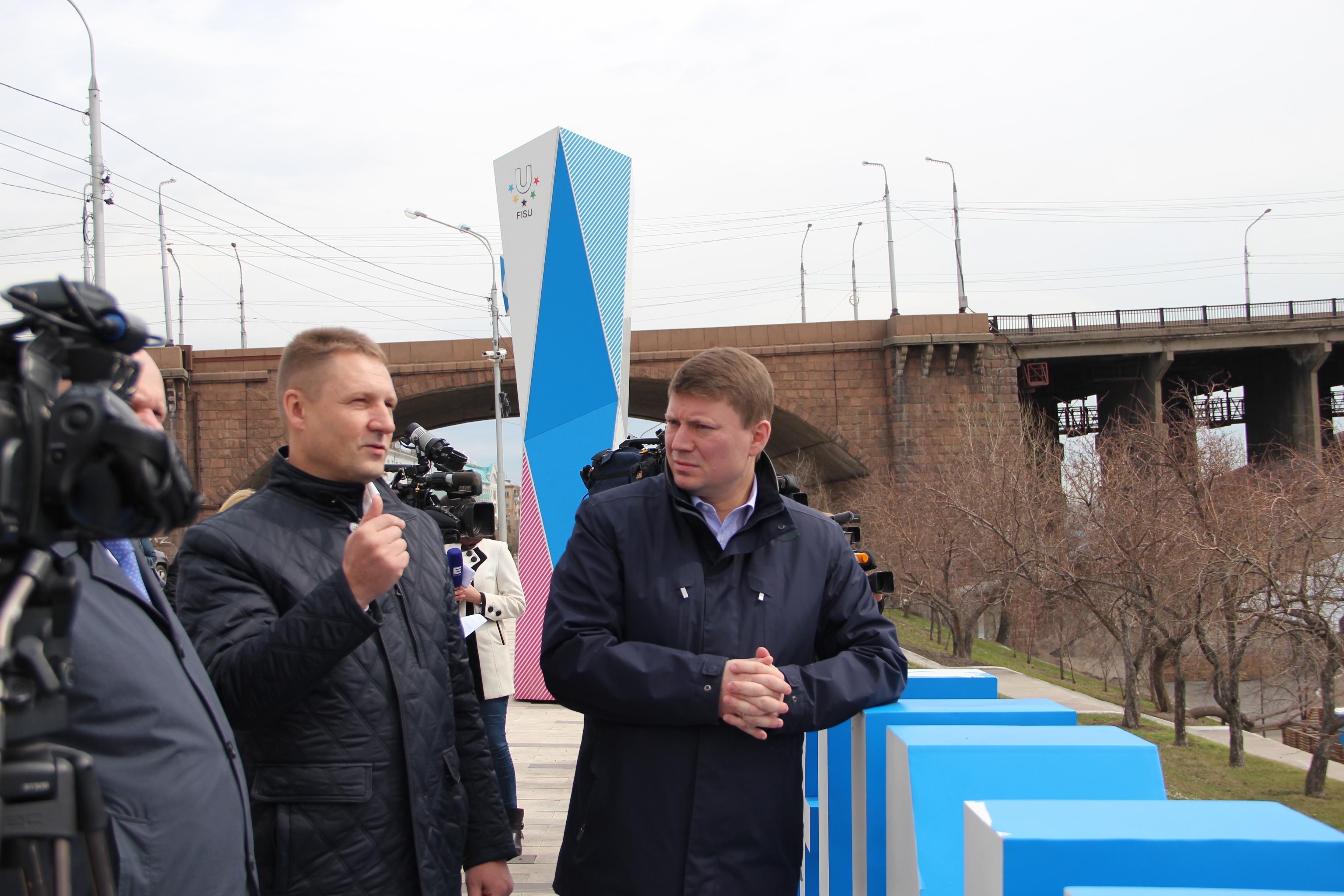 26 апреля 2018 года состоялся технический запуск речных фонтанов, на который приехал Глава города Красноярска Сергей Еремин.